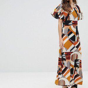 Liquorish Frill Sleeve Geometric Print Maxi Dress